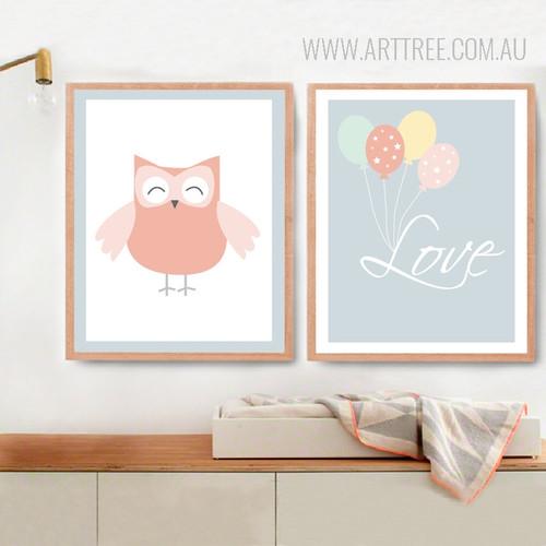 New Owl Love Balloon Nursery Wall Art