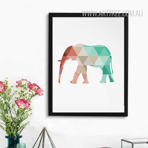 Mint and Coral Elephant Print Canvas Geometric Art