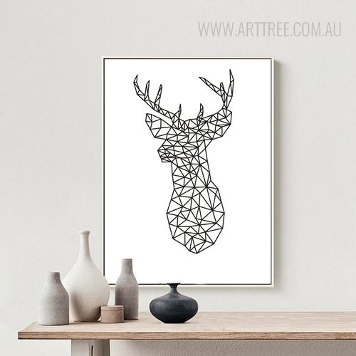 Minimalist Origami Deer Head Animal Black and White Art