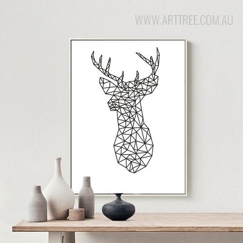 Minimalist Origami Deer Head Animal Black and White Art