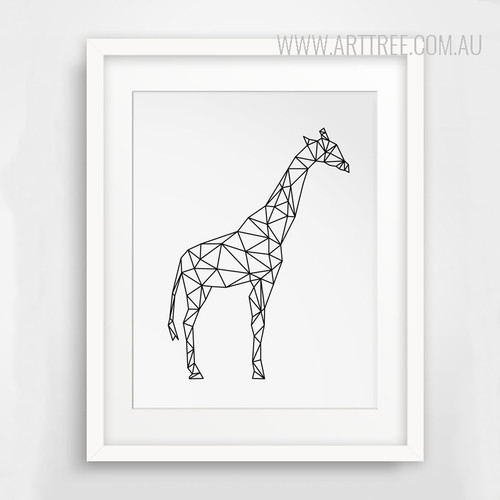 Minimalist Giraffe Animal Black and White Art