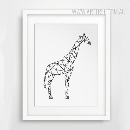 Minimalist Giraffe Animal Black and White Art