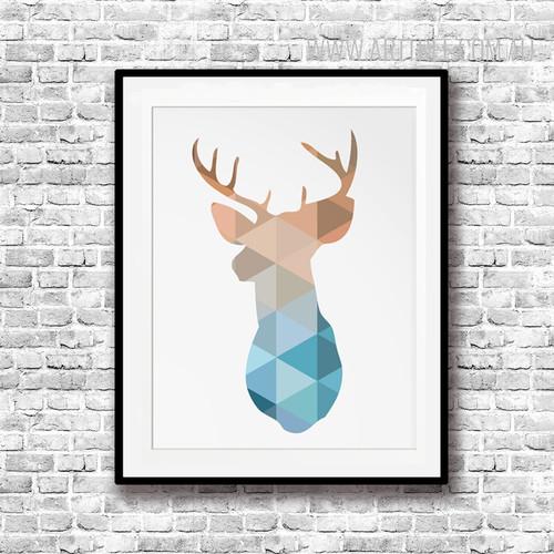 Mint and Coral Deer Head Animal Geometric Art