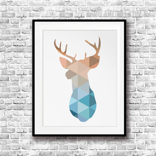 Mint and Coral Deer Head Animal Geometric Art
