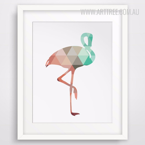 Mint and Coral Flamingo Bird Art Style Geometric Canvas Print