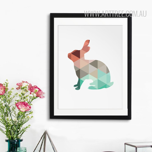 Mint and Coral Rabbit Animal Canvas Print Style Geometric Art