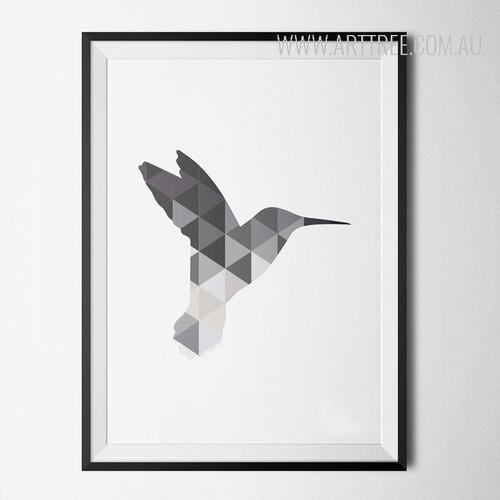 Grey Humming Bird Art Geometric Triangles Print
