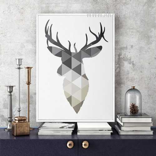 Grey Geometric Deer Scandinavian Print