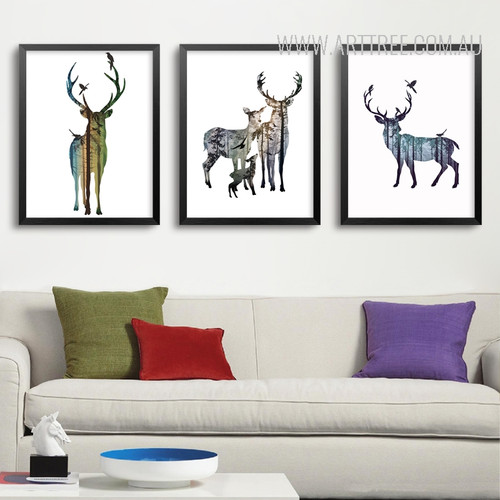 Nordic Abstract Blue Deer Family Animals Design Scandinavian Art