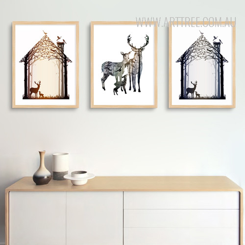 Nordic Abstract Deer Family Animals Design Scandinavian Art