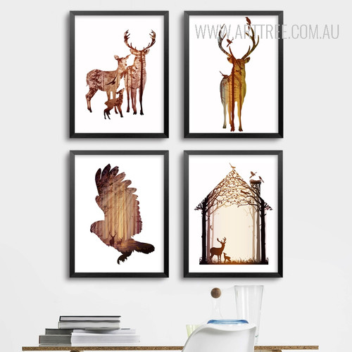 Nordic Abstract Deer Family Animals Bird Design Scandinavian Art