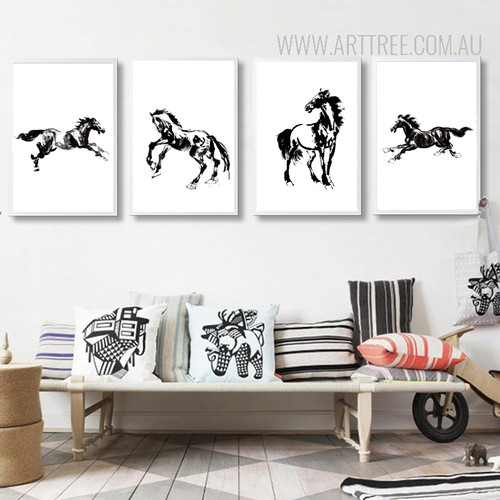 Black and White Chinese Style Horse Animal Design Scandinavian Art