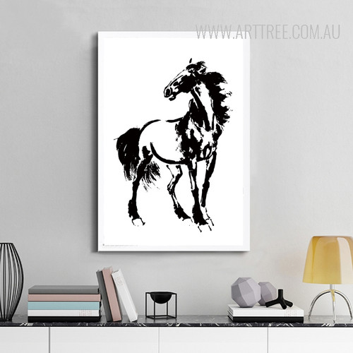 Black and White Horse Animal Design Nordic Scandinavian Art