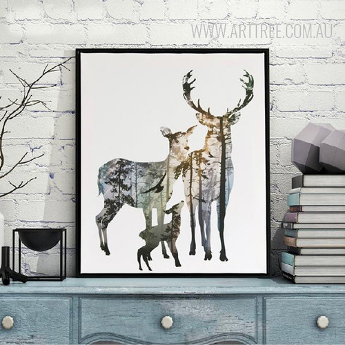 Nordic Deer Animals in Forest Digital Painting Scandinavian Art