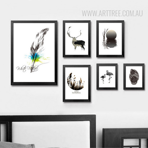 Nordic Black and White Animal Feather Print Scandinavian Art