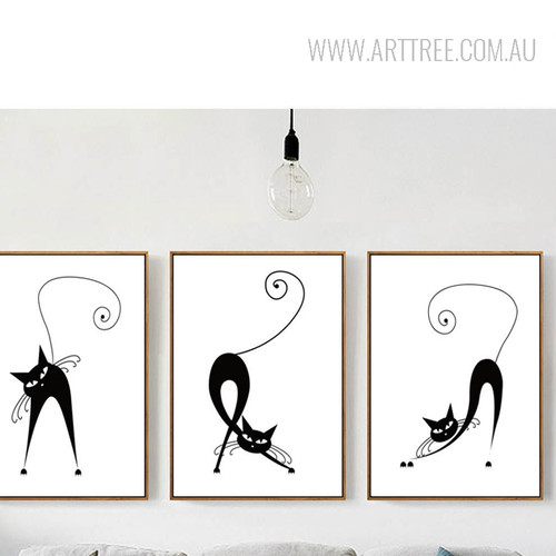Black and White Cats Animal Art Prints