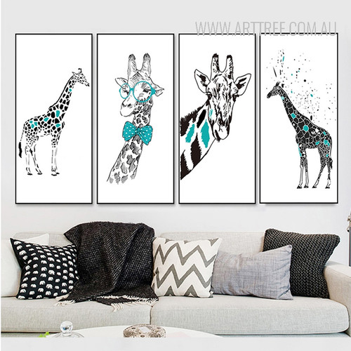Nordic Black Blue Giraffe Animal Print