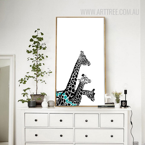 Nordic Giraffe Family Animal Art Print