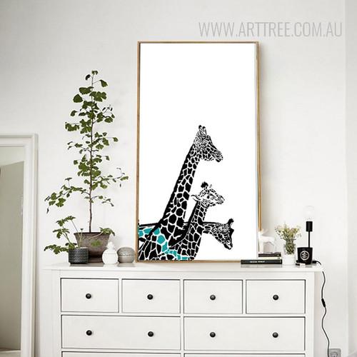 Nordic Giraffe Family Animal Art Print