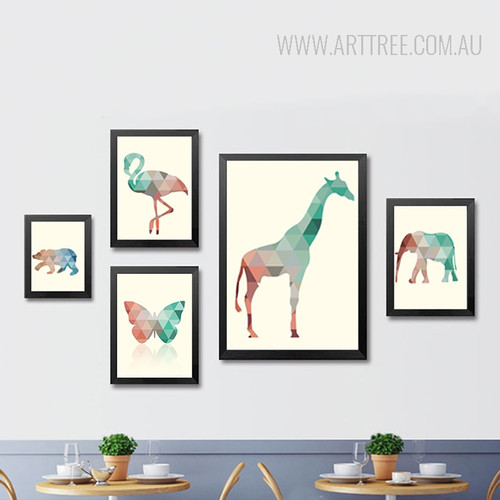 Mint and Coral Animals Geometric Triangles Design Minimal Wall Art Set