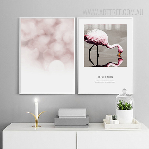 Reflection Pink Flamingo Bird Words Bubbles Bedroom Decor Wall Art