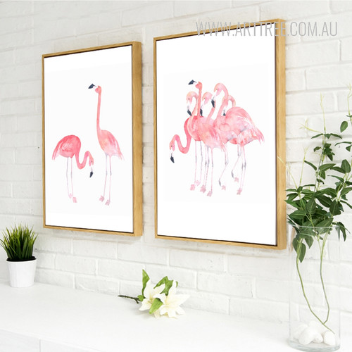 Modern Pink Flamingo Birds Set