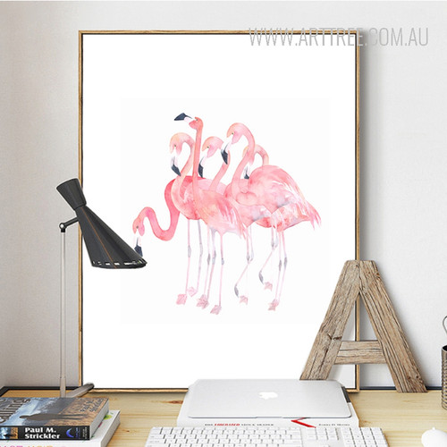 Modern Pink Flamingo Birds Group Design Canvas Print