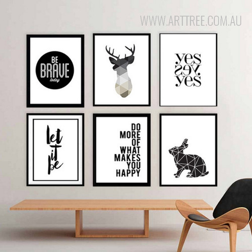 Minimalist Black and White Deer Rabbit Animal Be Brave Words Geometric Art