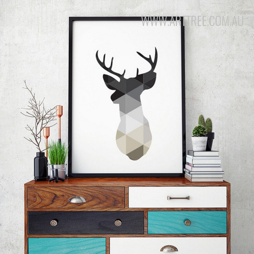 Minimalist Geometric Deer Animal Art