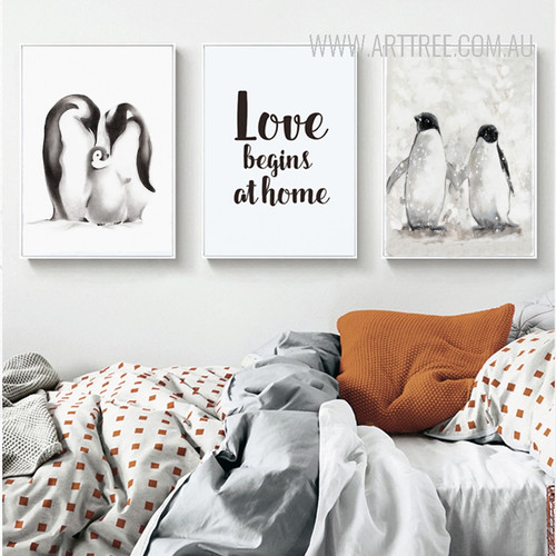 Black and White Penguin Family Love Begins at Home Quote Art