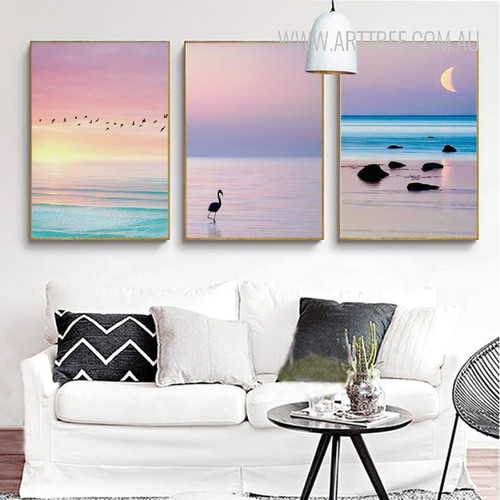 Flamingo Bird Sunrise Sunset Landscape Art