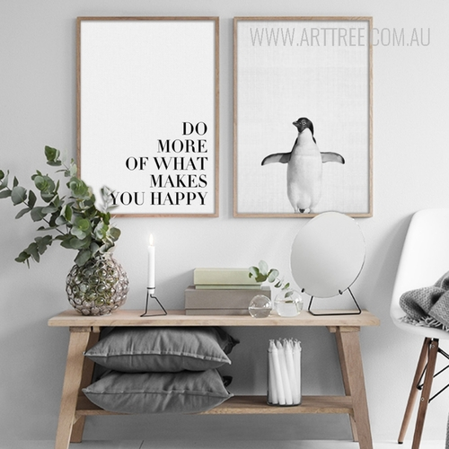 Black and White Do More Penguin Bird Digital Print