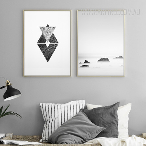 Black and White Sky Abstract Symbol Design Digital Print