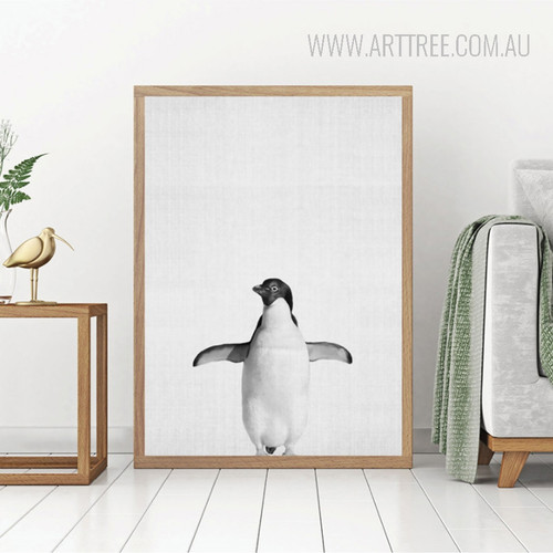 Black and White Penguin Bird Digital Print