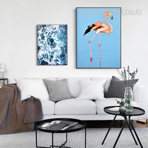 Flamingo Spindrift Blue Water Design Watercolor Canvas Prints