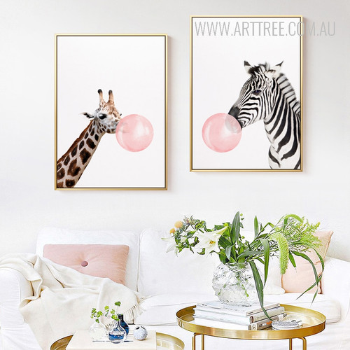 Long Giraffe Zebra Animals Blowing Bubbles 2 Piece Canvas Prints