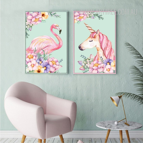 Lovely Pink Flamingo Bird Unicorn Animal Flowers Design Canvas Wall Art