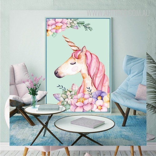 Lovely Pink Unicorn Animal Flowers Design Canvas Wall Art
