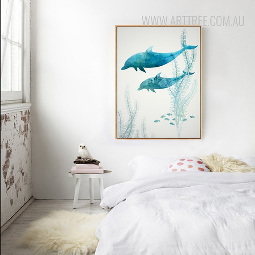 Blue Dolphins in Ocean Digital Painting