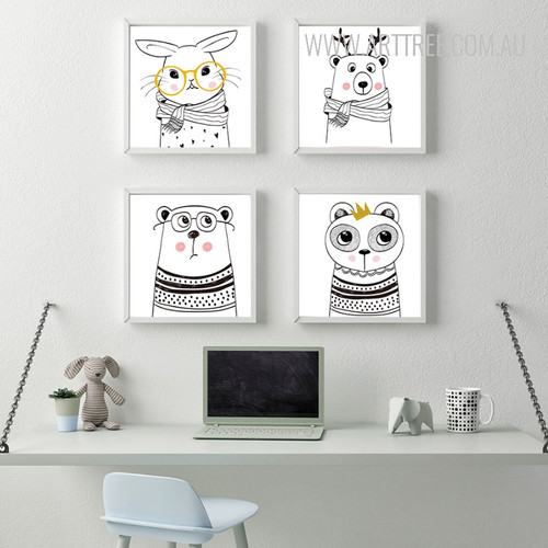 Nordic Cute Animals Rabbit Bear Design Scandinavian Art