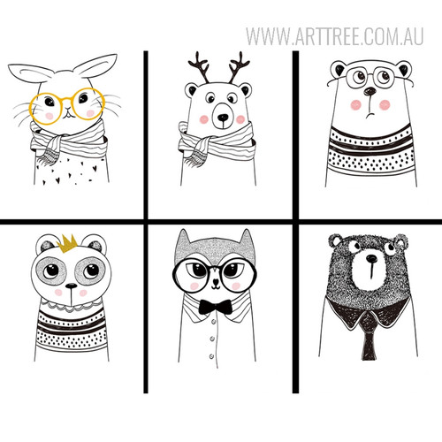 Black and White Cute Cartoon Animals Design Nordic Scandinavian Canvas Prints