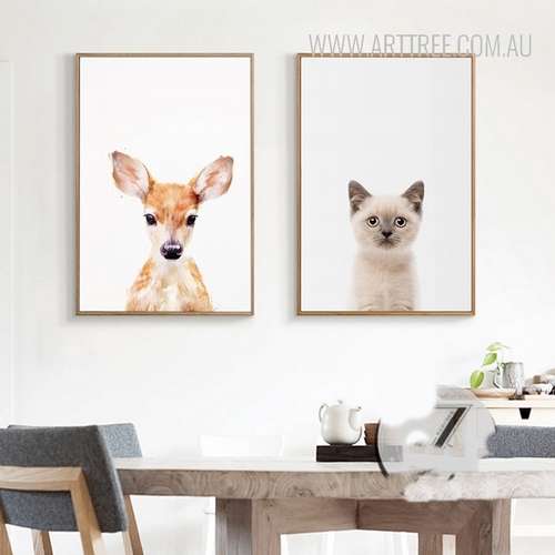 Cute Fawn Cat Animal Canvas Wall Art Set