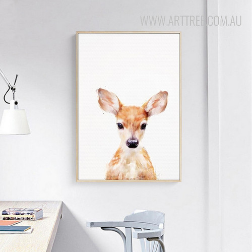 Cute Brown Fawn Animal Canvas Wall Art