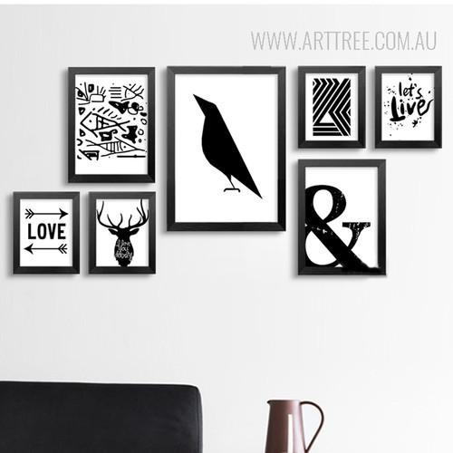 Black and White Ampercent Abstract Lines Tree Crow Deer Live Canvas Prints