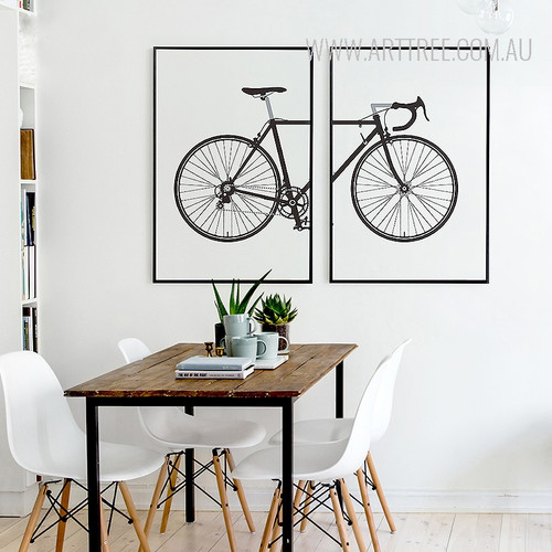 Black and White Bicycle Design Canvas Prints