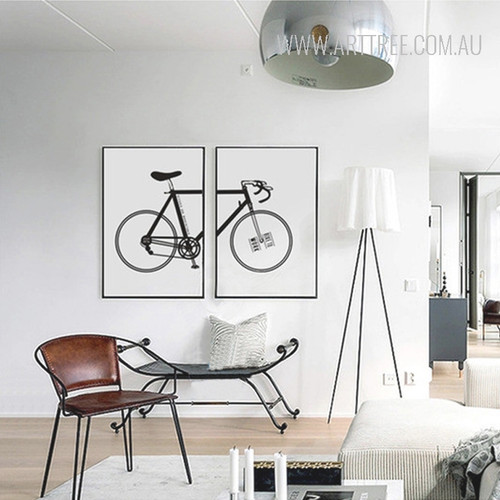 Black and White Racing Bicycle Design Canvas Wall Art
