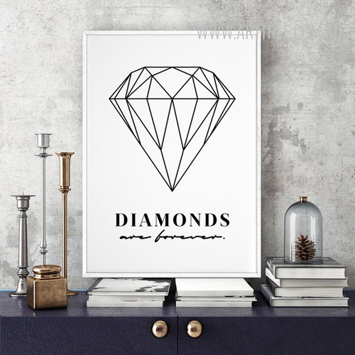 Black and White Diamonds Are Forever Words Design Minimalist Art