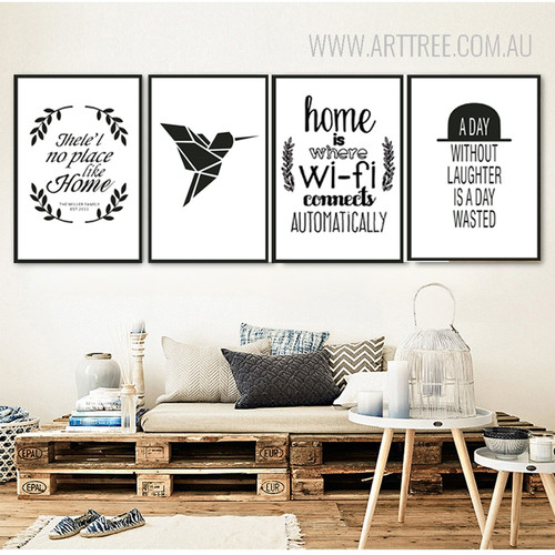 There is No Place Like Home Home is Where Wifi Black Bird Quote Prints