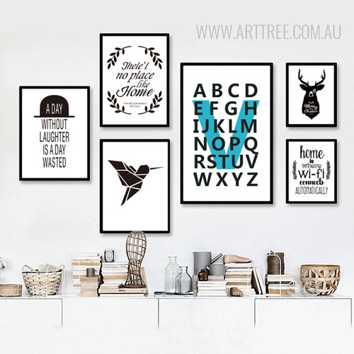 There is No Place Like Home is Where Wifi Black Bird Alphabets Quote Prints