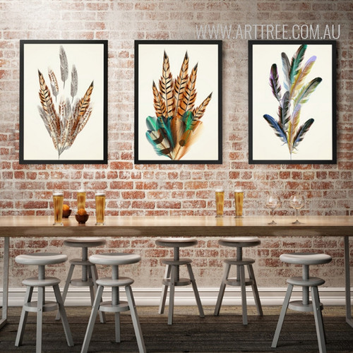 Nordic Golden Brown Feathers Creative Canvas Painting Print